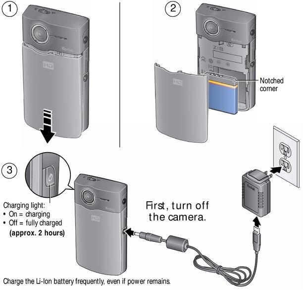 charging the battery approximately 2 hours rh resources kodak com Kodak Zx5 Kodak Zi8 Camcorder Charger Pocket