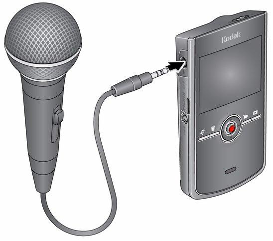 using an external stereo microphone rh resources kodak com Kodak Zi8 Camcorder Charger Pocket Kodak Zi6